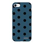 EVETANE Coque iPhone 7/8/ iPhone SE 2020 Silicone Liquide Douce bleu marine Pois Noir