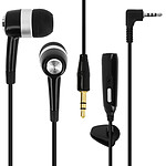 Avizar Ecouteurs Noir pour Téléphones portables avec prise Jack 2.5 mm ou Jack 3.5 mm
