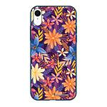 LA COQUE FRANCAISE Coque iPhone Xr Silicone Liquide Douce bleu marine Fleurs violettes et oranges