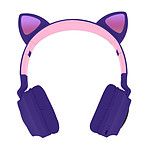 Casque Bluetooth Design Oreilles Chat Animation lumineuse 12h - Violet Lavande