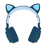 Casque Audio Bluetooth Design Oreilles Chat Animation lumineuse 12h - bleu nuit