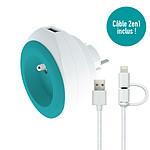 Watt and Co Prise BEWATT avec chargeur USB réversible (turquoise)