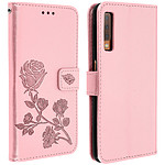 Avizar Etui folio Rose Champagne Portefeuille pour Samsung Galaxy A7 2018