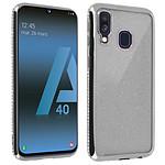 Avizar Coque Argent Design pailleté pour Samsung Galaxy A40