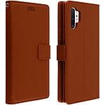 Avizar Etui folio Marron Éco-cuir pour Samsung Galaxy Note 10 Plus