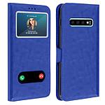 Avizar Etui folio Bleu Double Fenêtre pour Samsung Galaxy S10 Plus