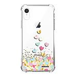 EVETANE Coque iPhone Xr anti-choc souple angles renforcés transparente Coeurs Pastels