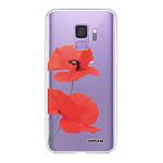 EVETANE Coque Samsung Galaxy S9 360 intégrale transparente Coquelicot