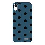 EVETANE Coque iPhone Xr Silicone Liquide Douce bleu marine Pois Noir