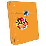 Oxford lot de bloc-notes 210x315 perforés quadrillé 80 feuilles 80g 2+1 gratuit