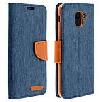 Avizar Etui folio Bleu Nuit Porte-Carte pour Samsung Galaxy J6