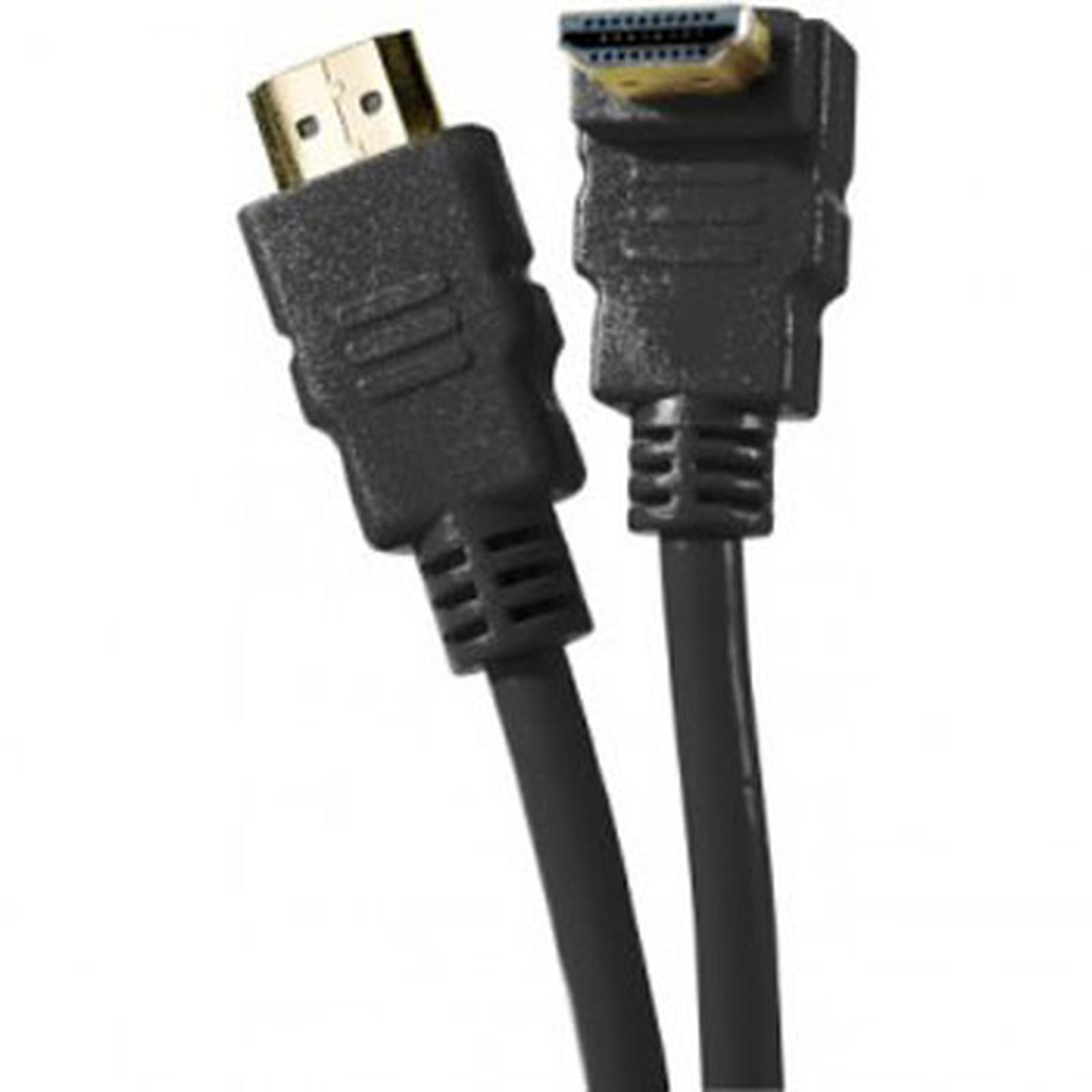 Câble HDMI 1.4 Ethernet Channel Coudé mâle/mâle Noir - (3 mètres)