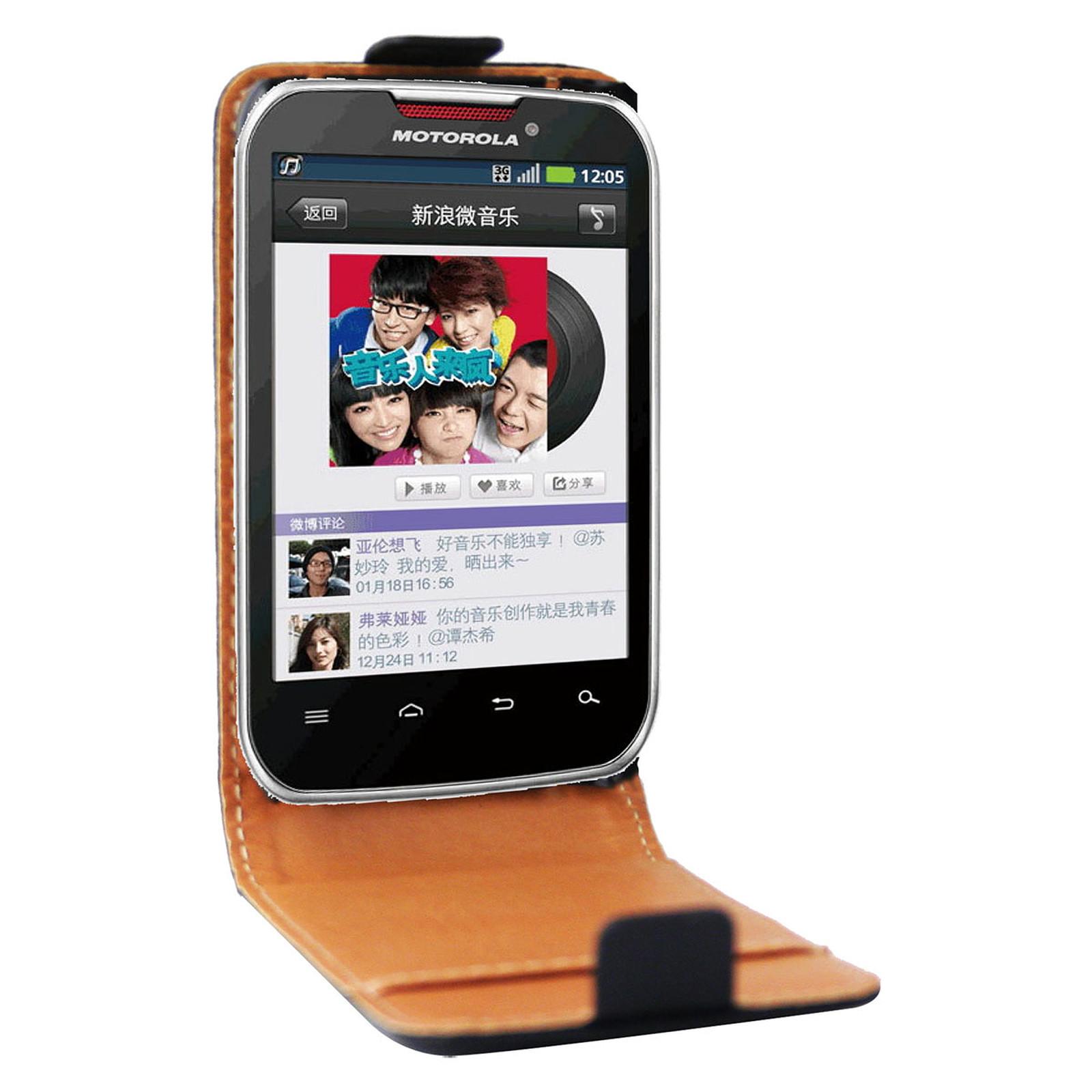 Swiss Charger Etui Cuir Flip Noir Motorola MOTOSMART MIX XT550