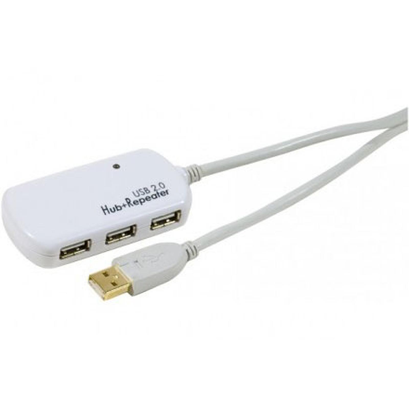 Hub USB 2.0 (4 ports) avec câble répéteur actif (12 mètres)
