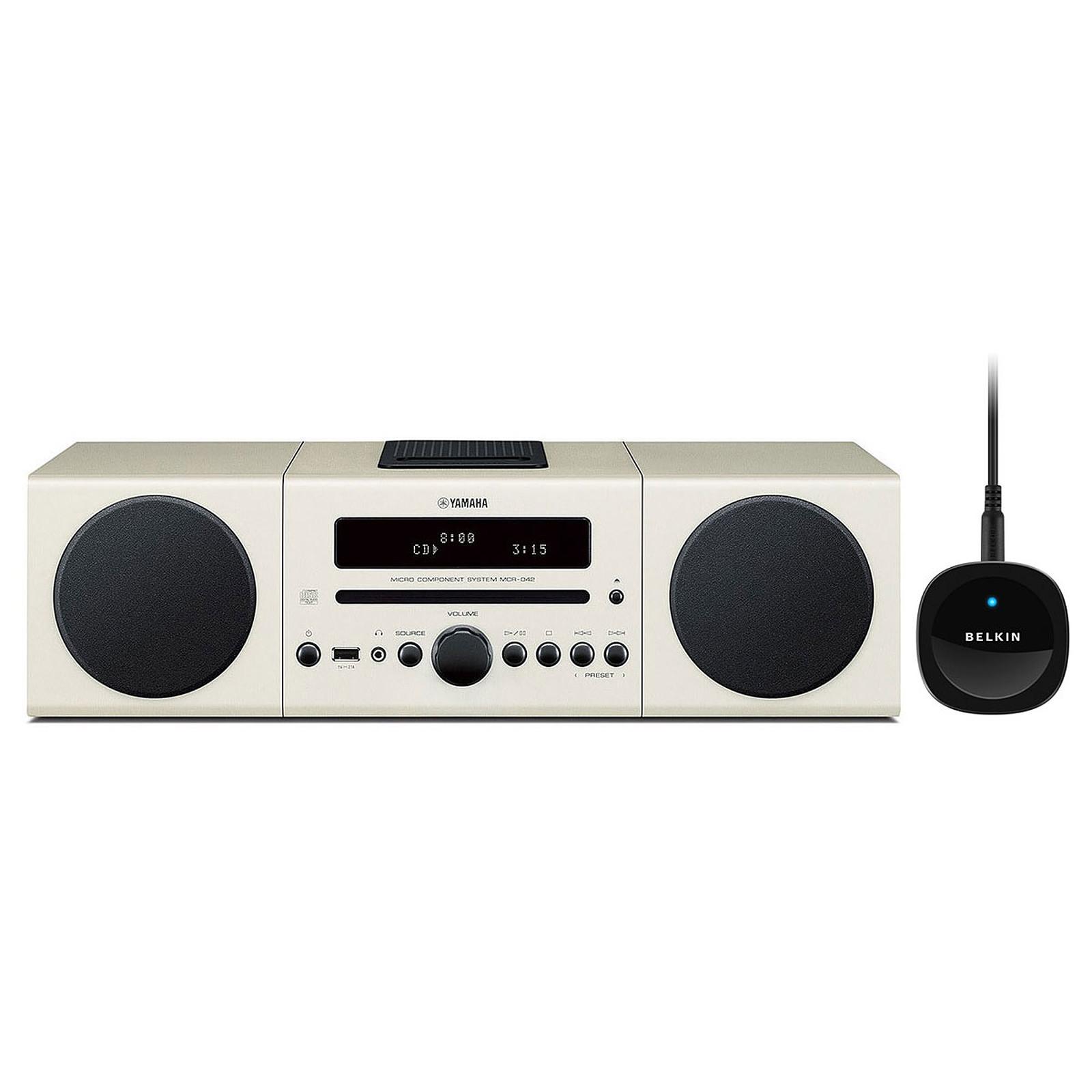 Yamaha MCR-042 Blanc + Belkin Bluetooth Music Receiver