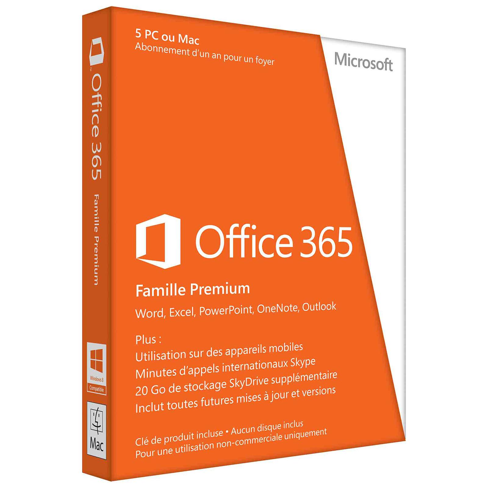Microsoft Office 365 Famille Premium Licence 1 Utilisateur Pour 5 PC Ou Mac Du Meme Foyer