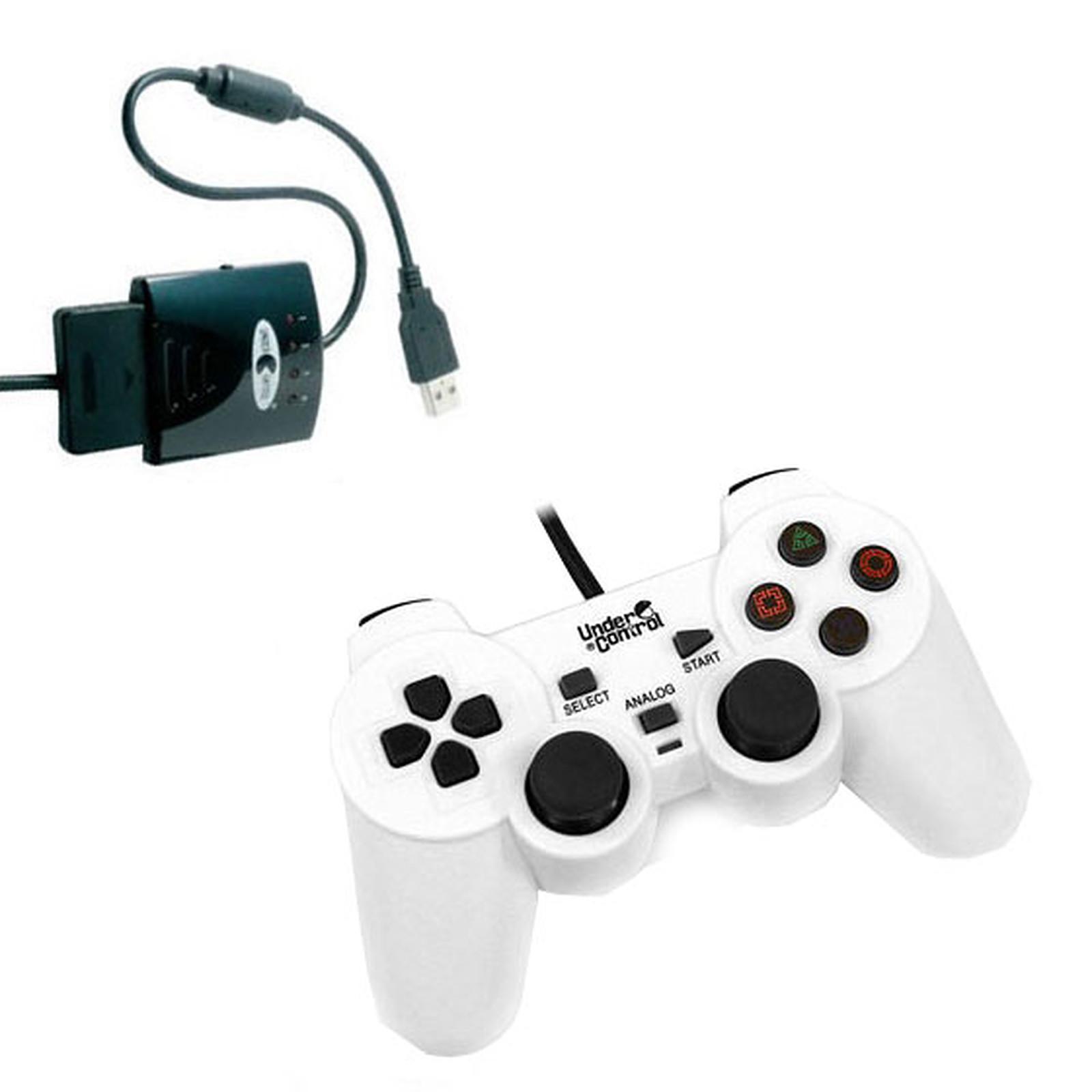 Under Control Shockcontroller Blanc + Convertisseur de manette (PS2 / PS3)