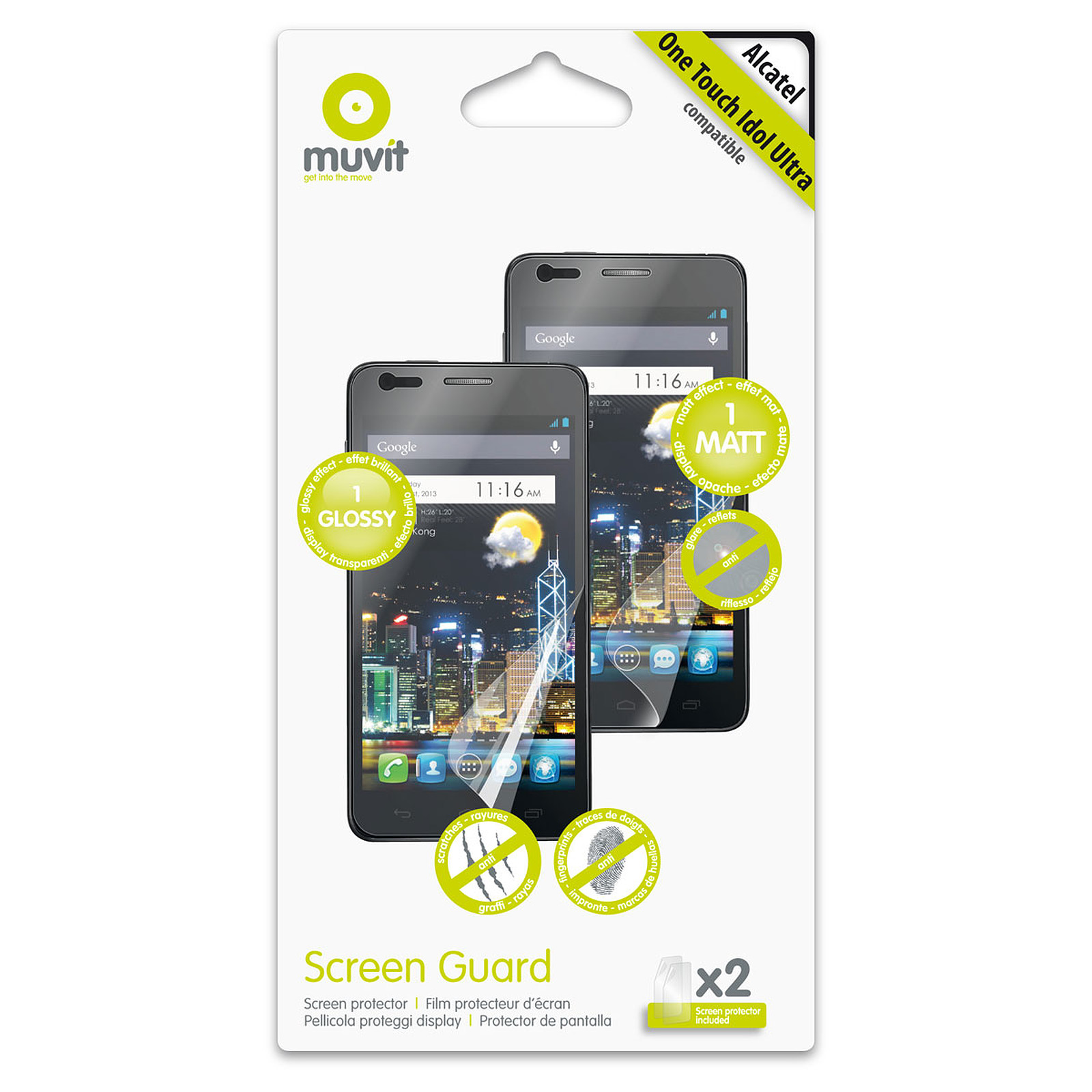 Muvit Screen Protector pour Alcatel One Touch Idol Ultra