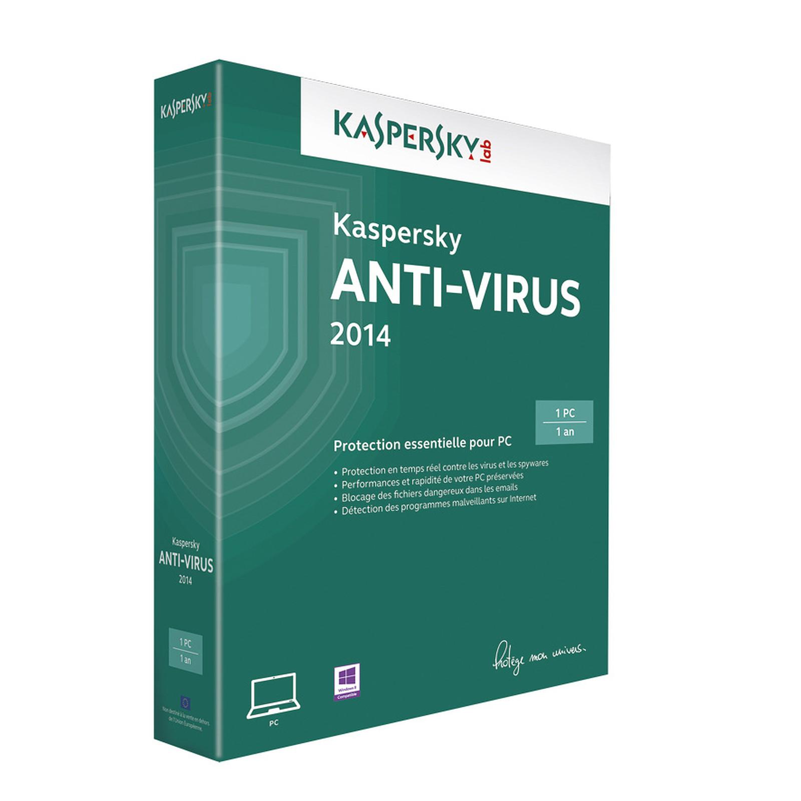 Kaspersky Anti-Virus 2014 - Licence 1 poste 1 an (français, WINDOWS)