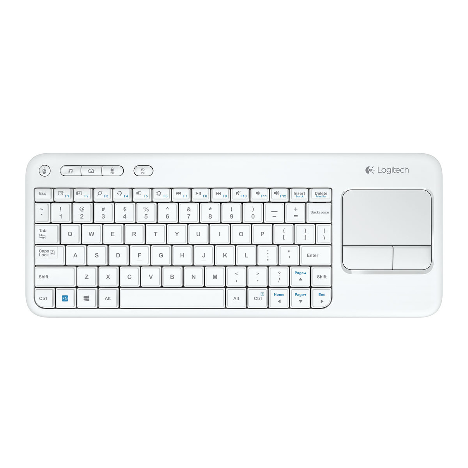 logitech wireless touch keyboard k400 blanc
