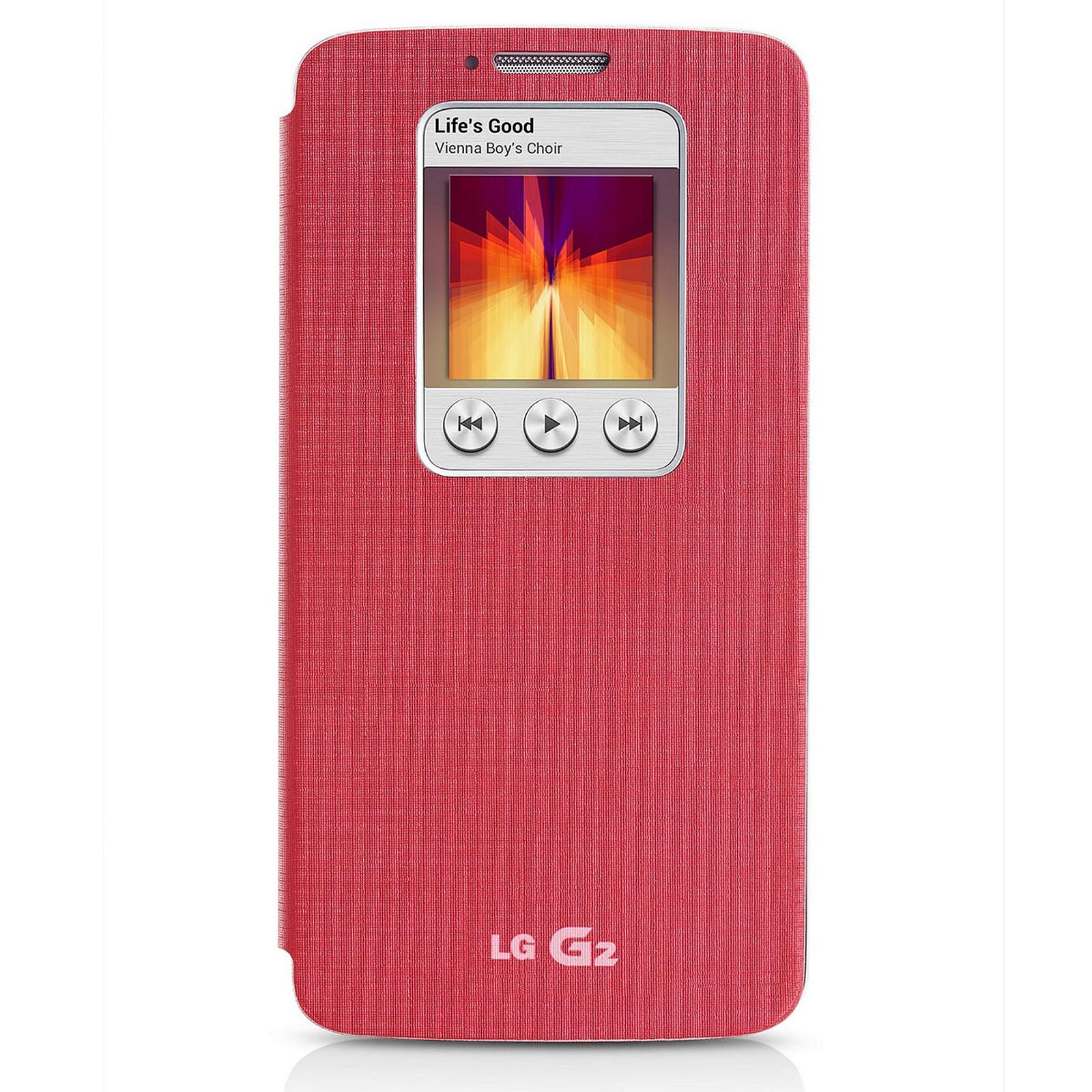 LG Etui Quick Window Case Rose pour LG G2