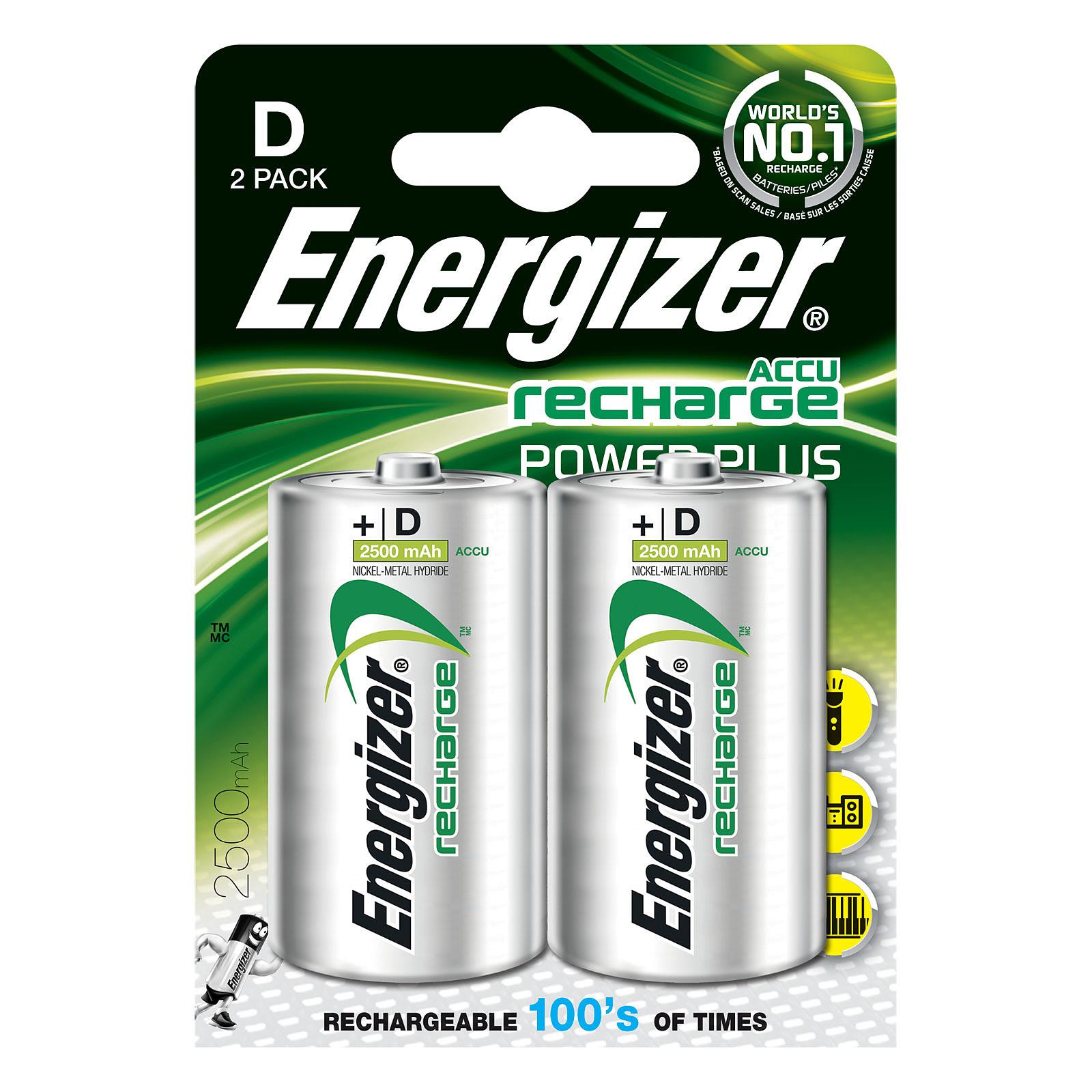 Energizer Accu Recharge Power Plus D 2500 mAh (par 2) 1.5V