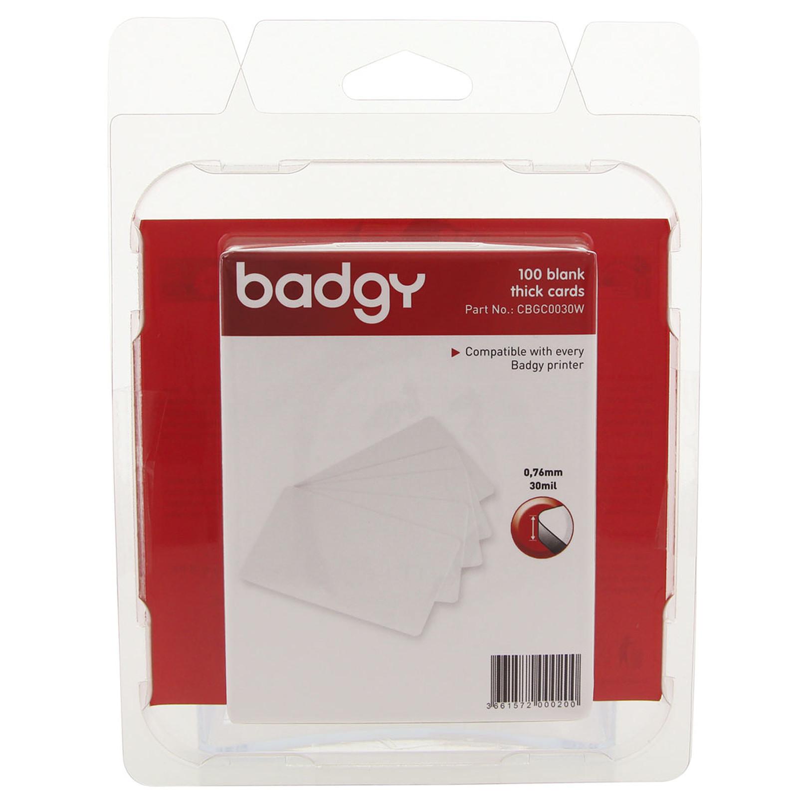 Evolis Badgy 100 cartes blanches vierges épaisses