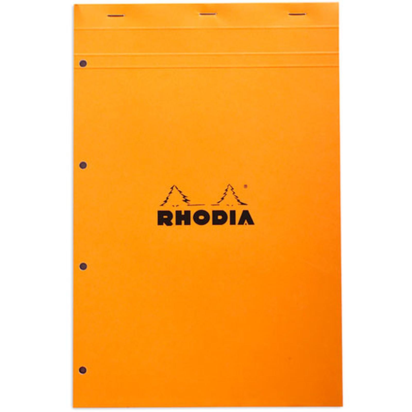 Rhodia Bloc N°20 Orange agrafé en-tête 21 x 31.8 cm petits carreaux  5 x 5 mm 160 pages perforées
