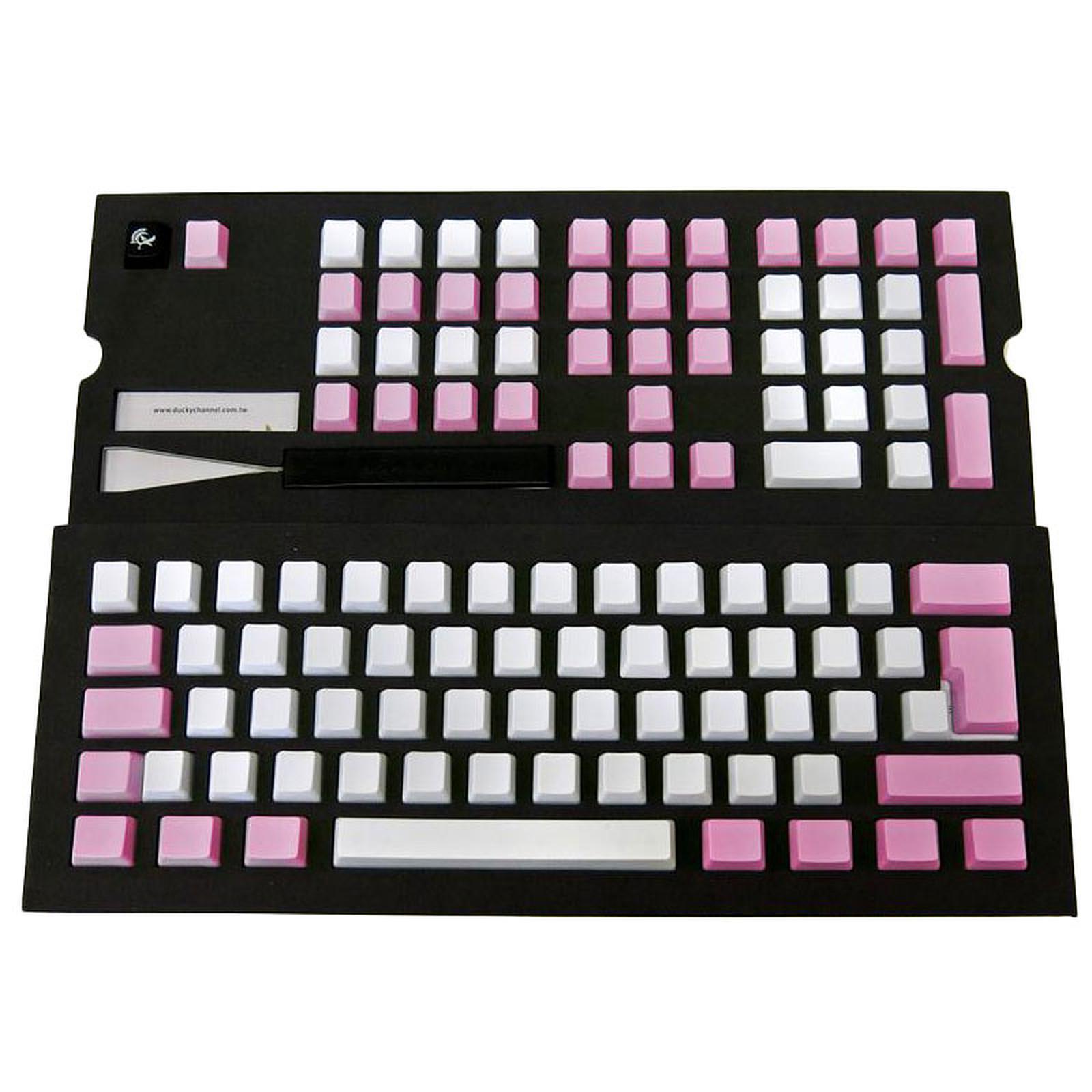 Ducky Channel Keycap Set (blanc / rose)
