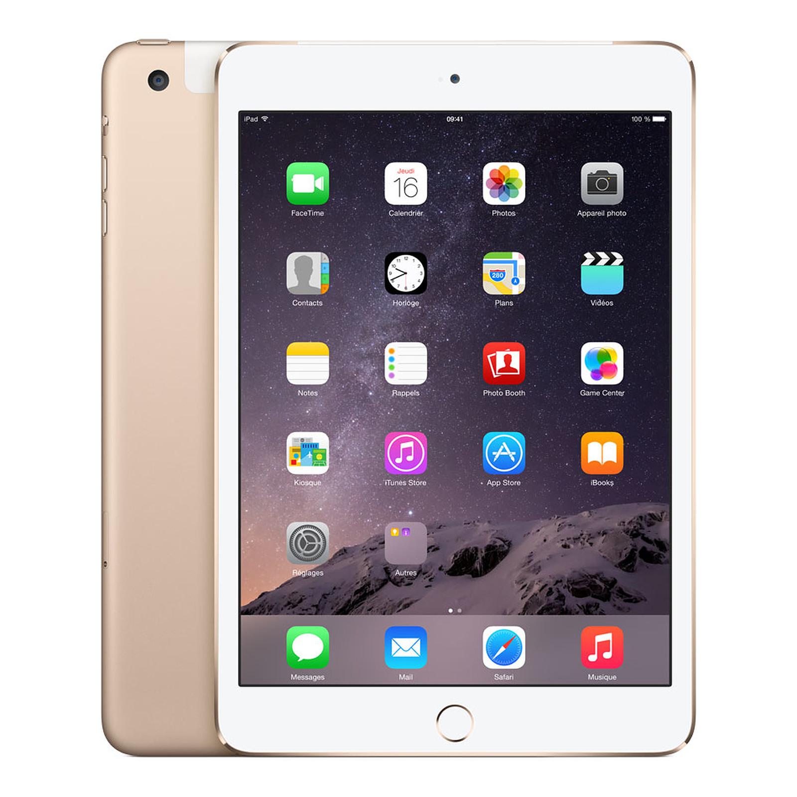 Apple iPad mini 3 avec écran Retina Wi-Fi + Cellular 16 Go Or