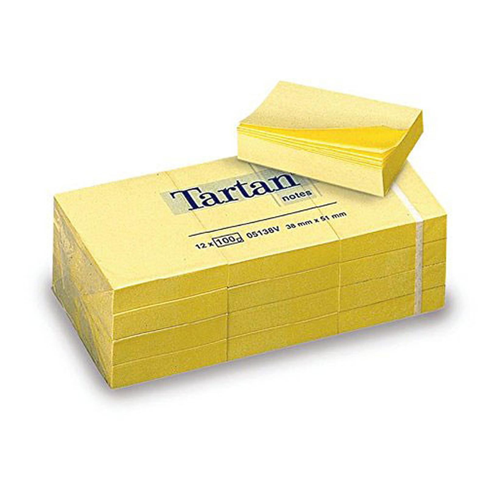 Tartan Lot de 12 blocs de feuilles repositionnables 38 x 51 mm notes lignées jaunes