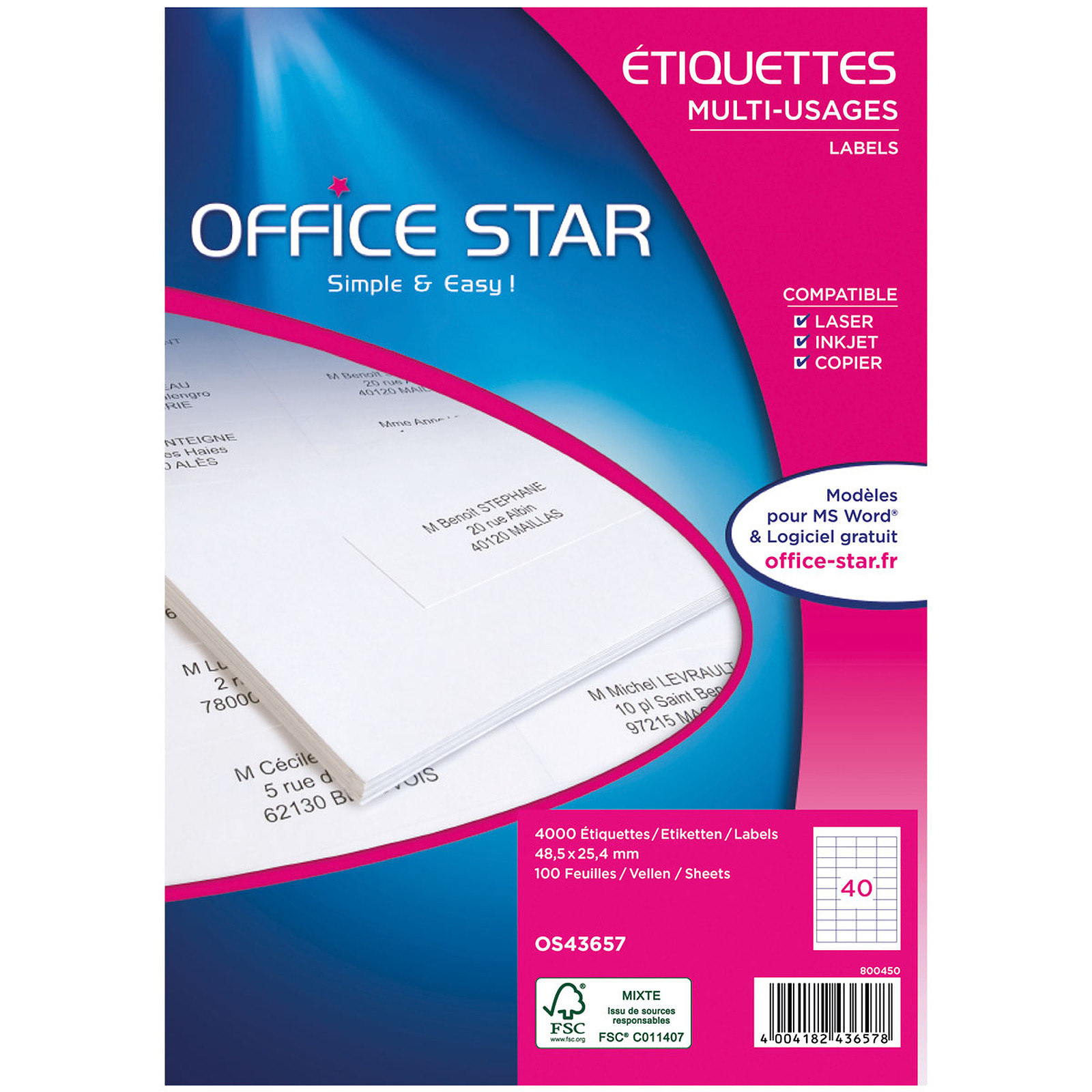 Office Star Etiquettes 48.5 x 25.4 mm x 4000