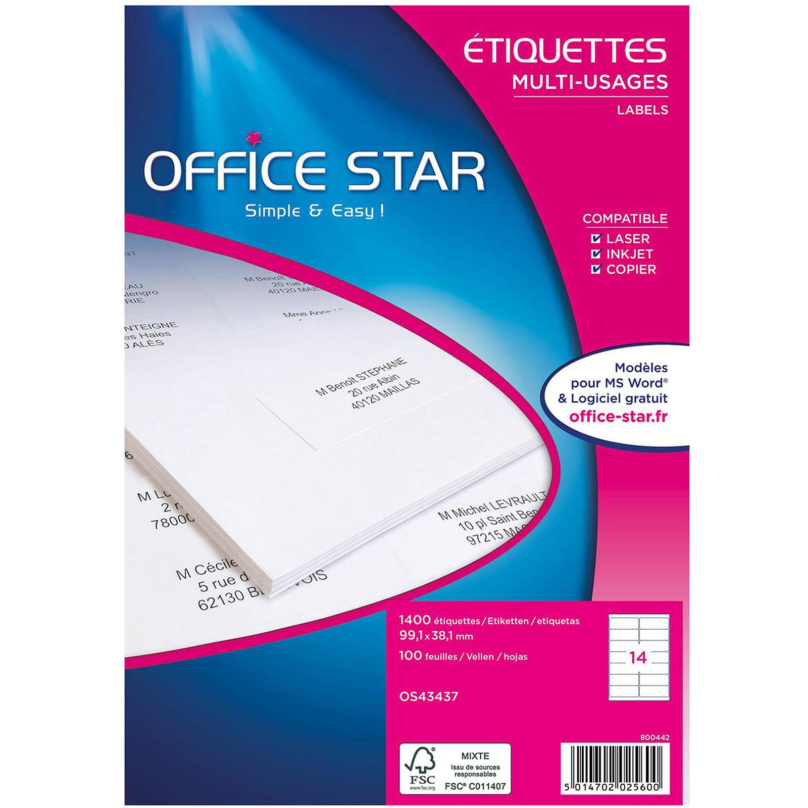Office Star Etiquettes 99.1 x 38.1 mm x 1400