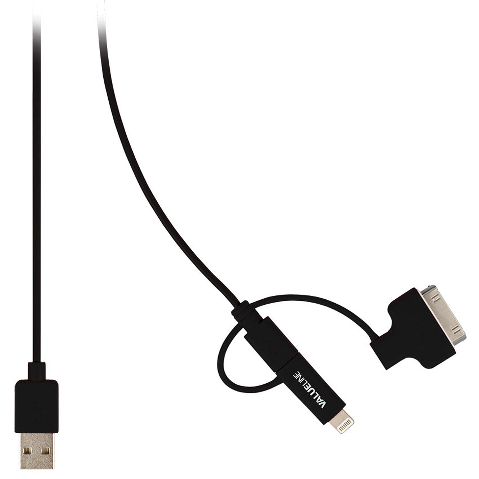 Cable USB a Micro USB + Apple Lightning y Apple 30 pines (negro)