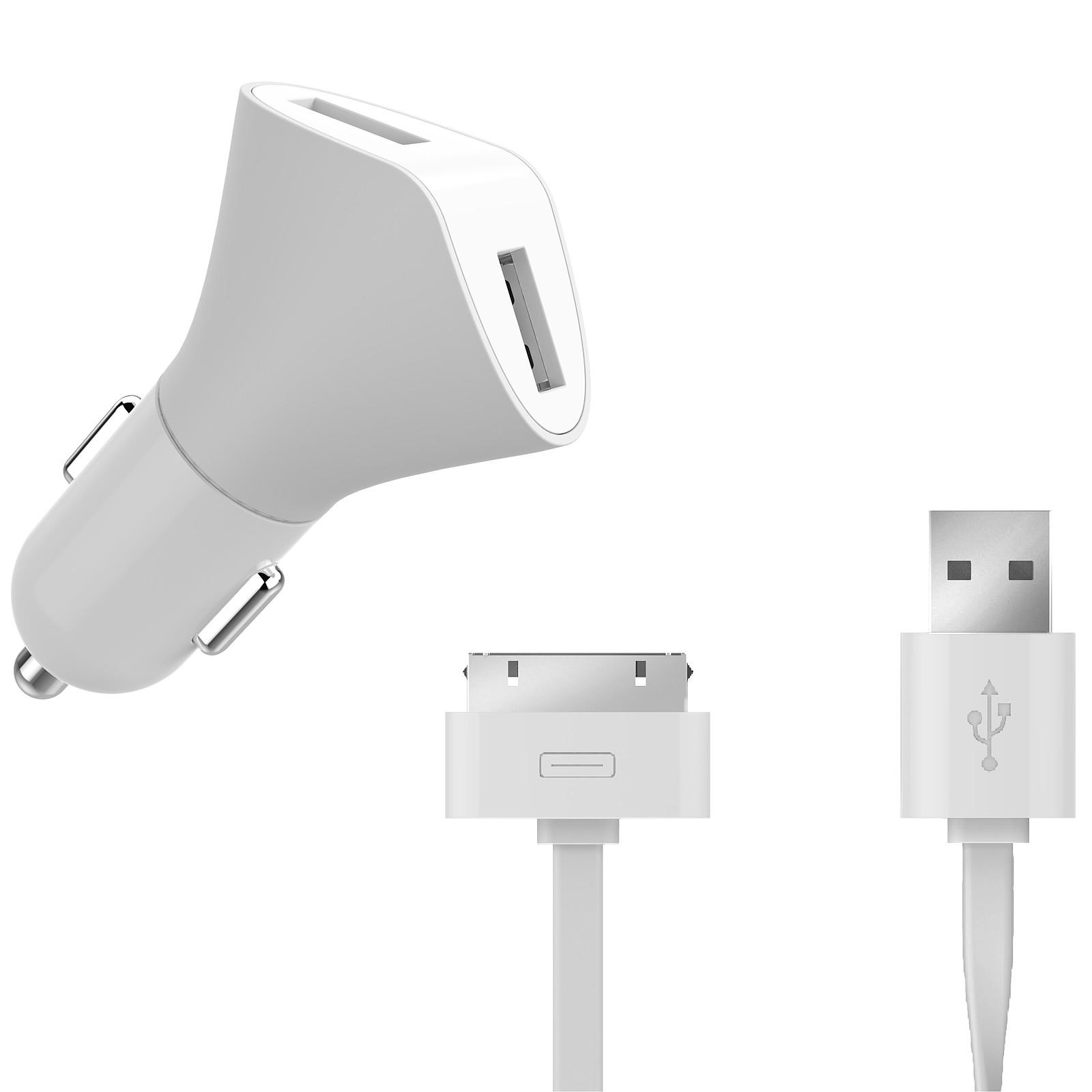 Muvit Chargeur Voiture 2 USB 2.4A Blanc + Câble plat Lightning