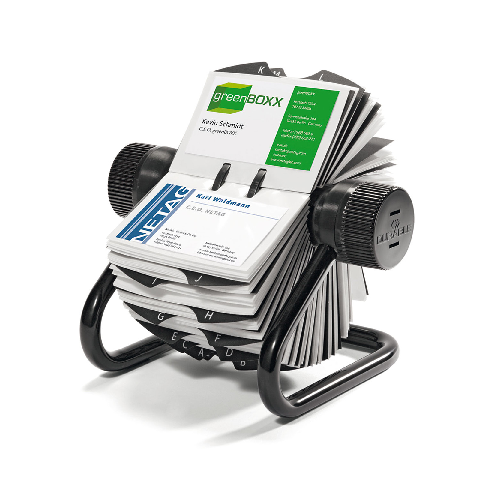 Fichero giratorio DURABLE VISIFIX ECONOMY para tarjetas de visita capacidad 400 tarjetas color negro