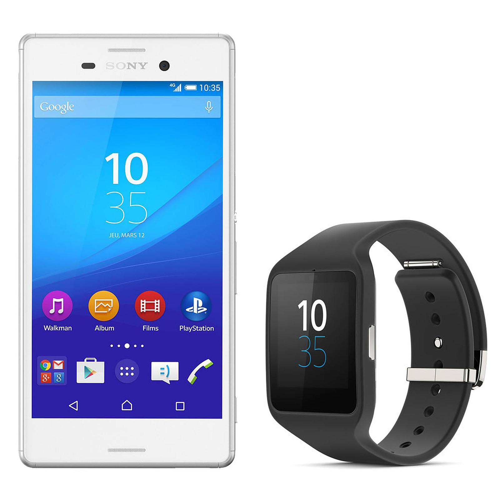 Sony Xperia M4 Aqua Dual SIM Blanc + Sony SmartWatch 3
