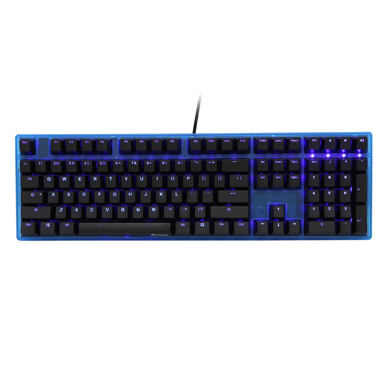 Ducky Channel One (coloris bleu transparent - MX Black - LEDs bleues)