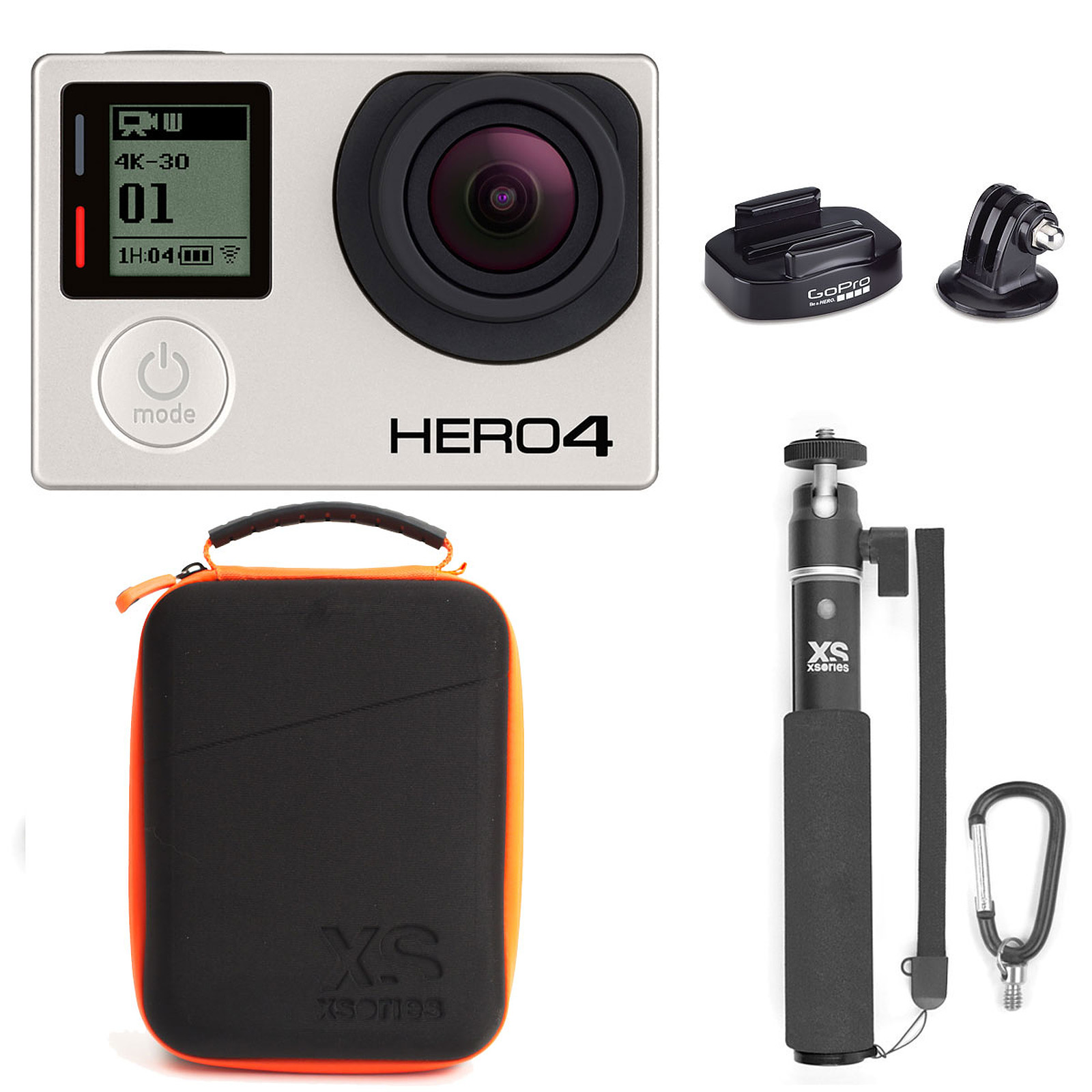 GoPro HERO 4 : Black Edition + Fixation + XSories Capxule & U-Shot Monochrome