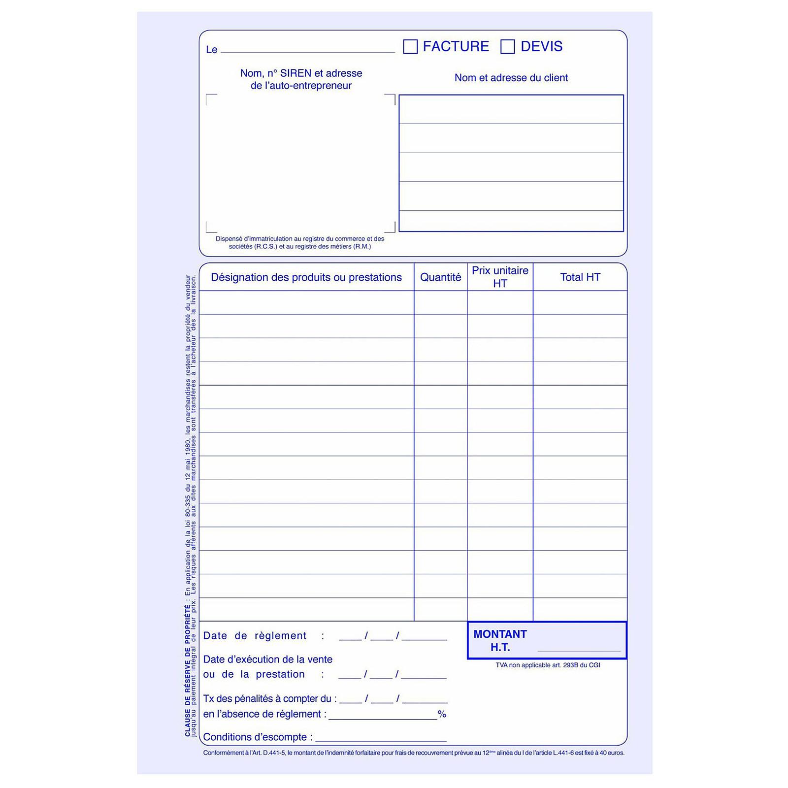 Elve Manifold factures / devis 50 feuillets avec duplicata ...