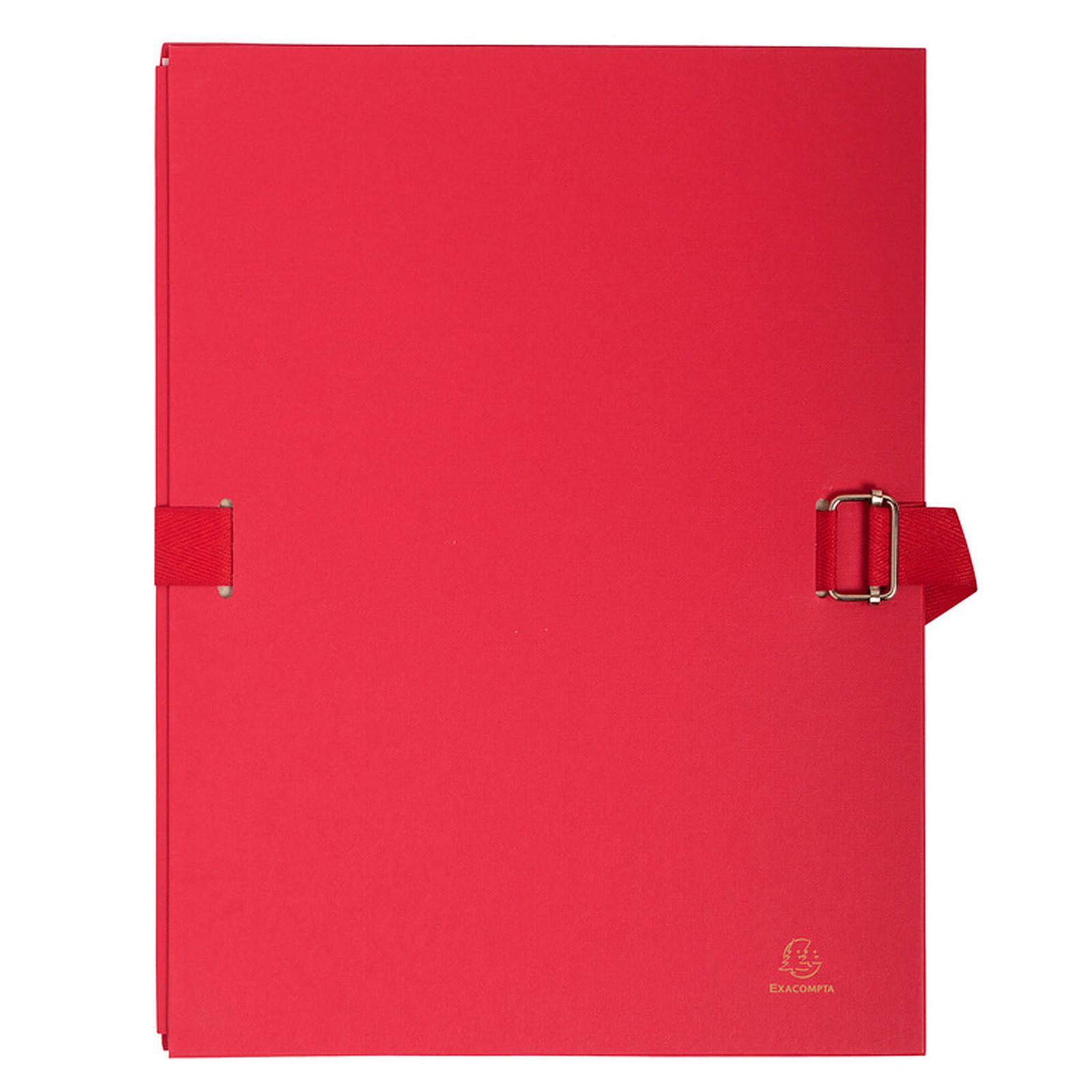 Exacompta Chemise à sangle papier toilé avec rabat Rouge