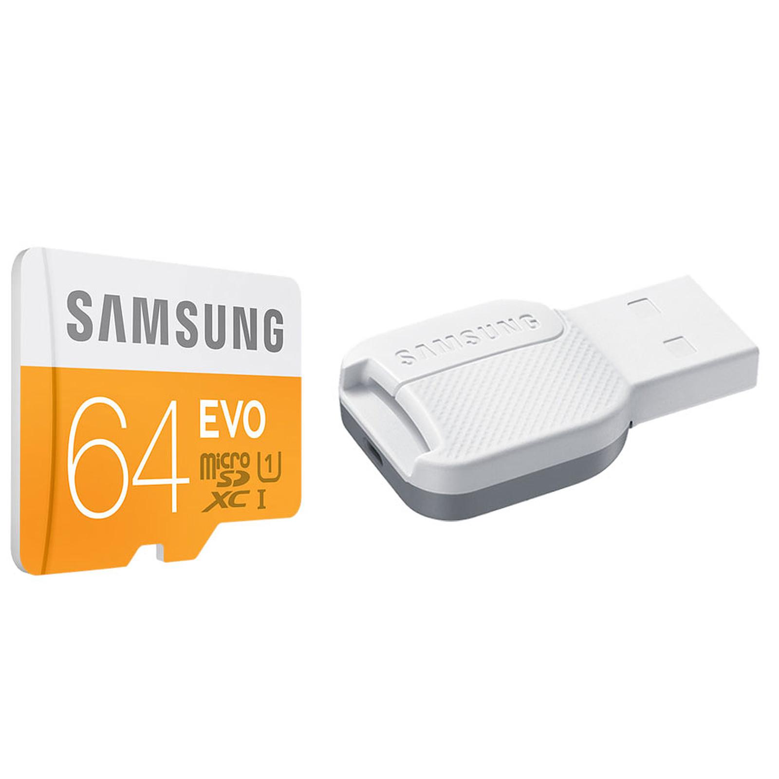 Samsung EVO microSDXC 64 Go + adaptateur USB