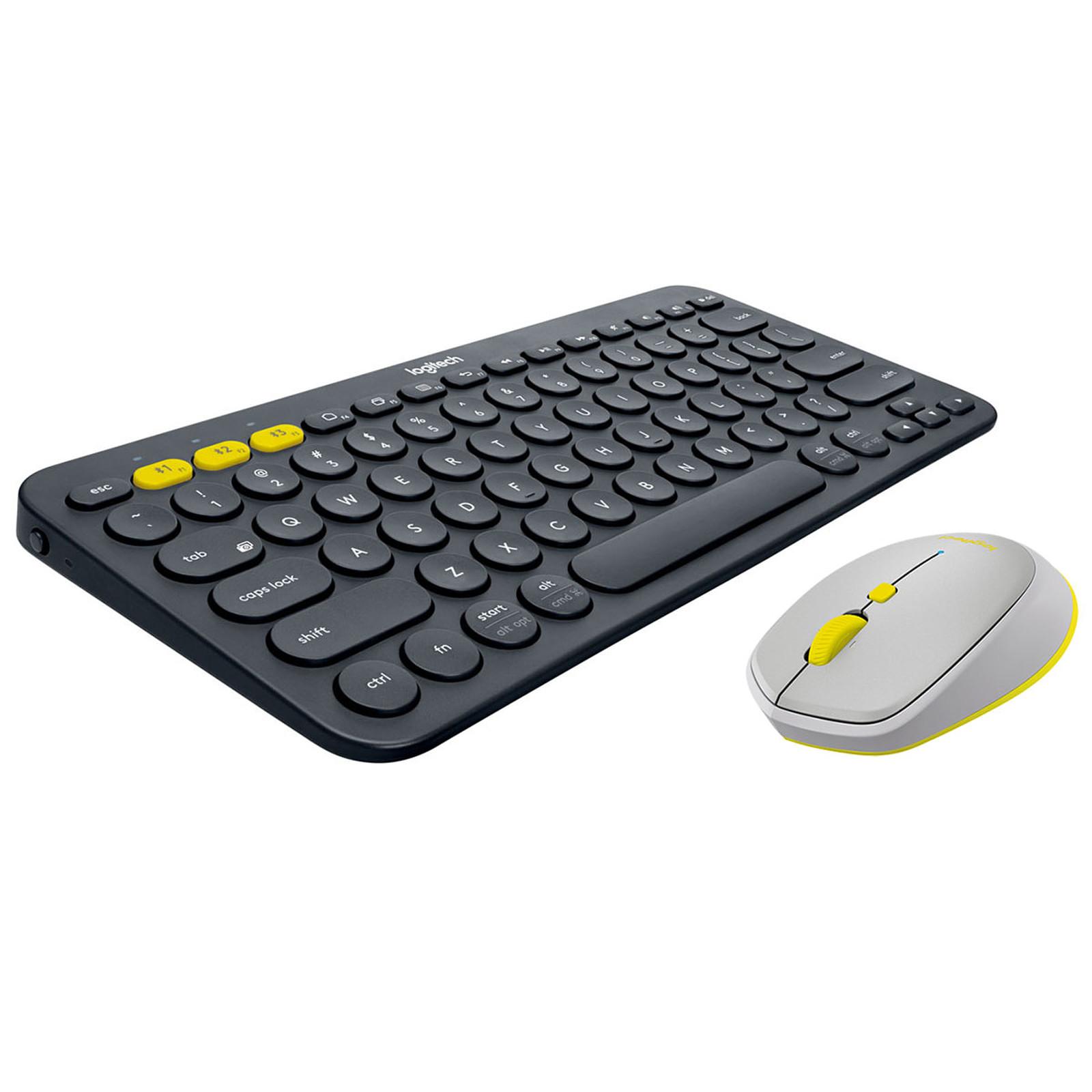 Logitech Pack mobilité Bluetooth Souris M535 + Clavier K380 (Gris/jaune)