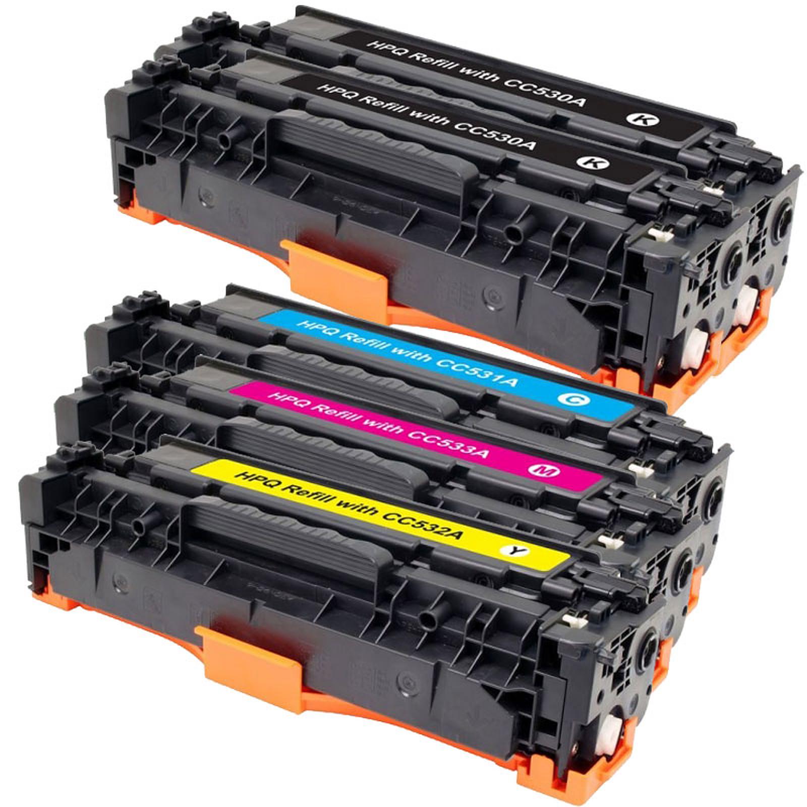 Multipack toners compatibles HP CC53XA et Canon 718 (Noir, magenta, jaune et cyan)