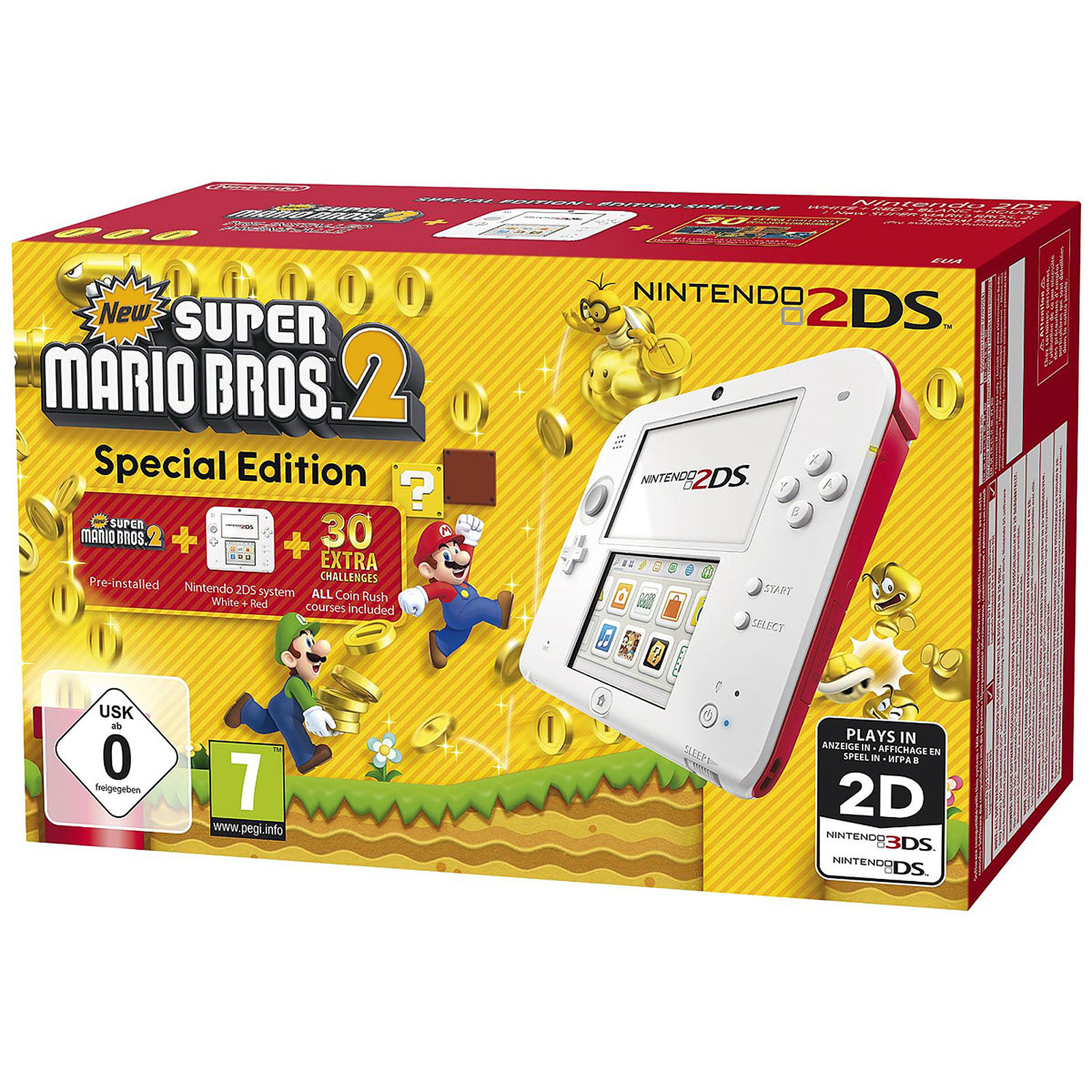 Nintendo 2DS Blanco / Rojo + New Super Mario Bros. 2