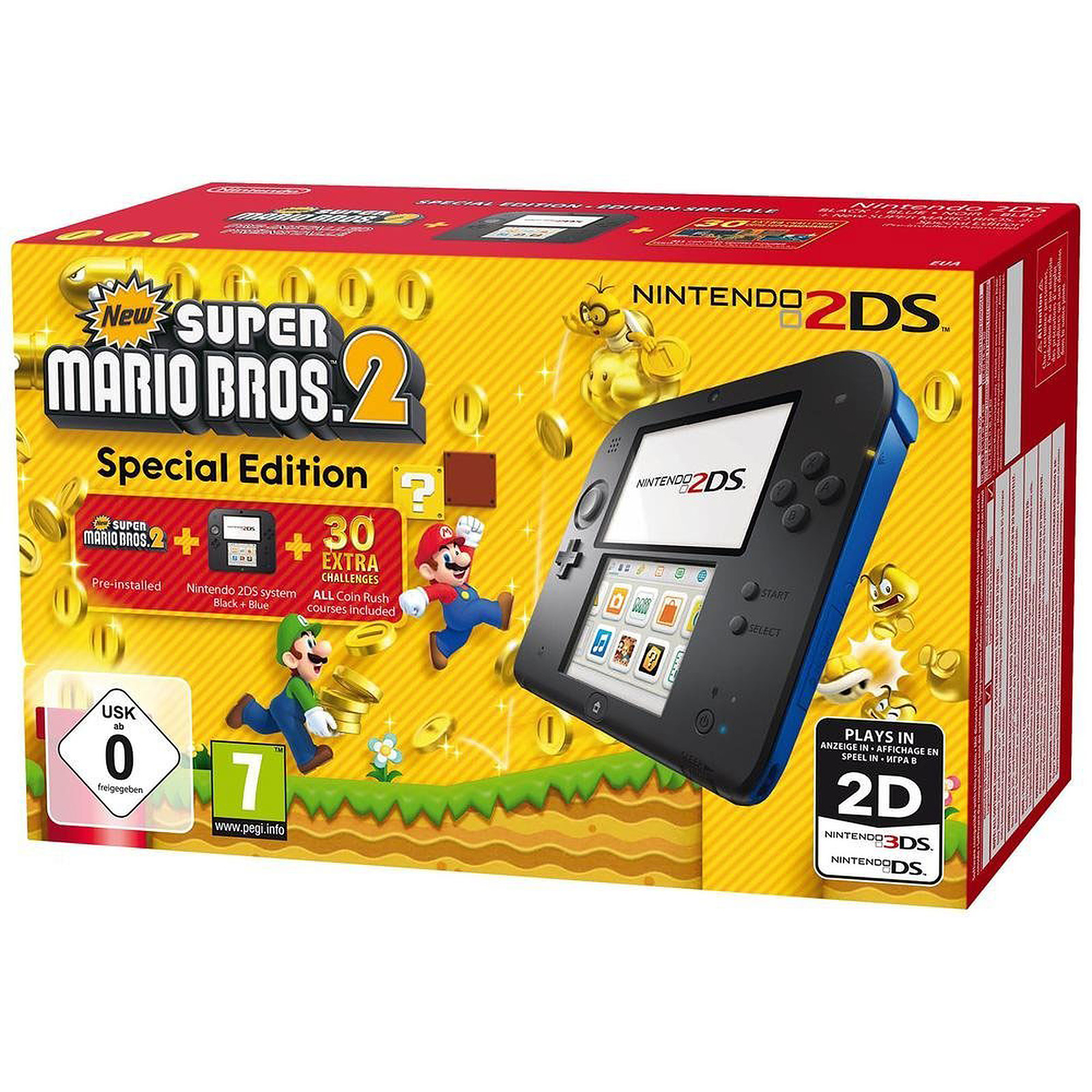 Nintendo 2DS Negro / Azule + New Super Mario Bros. 2