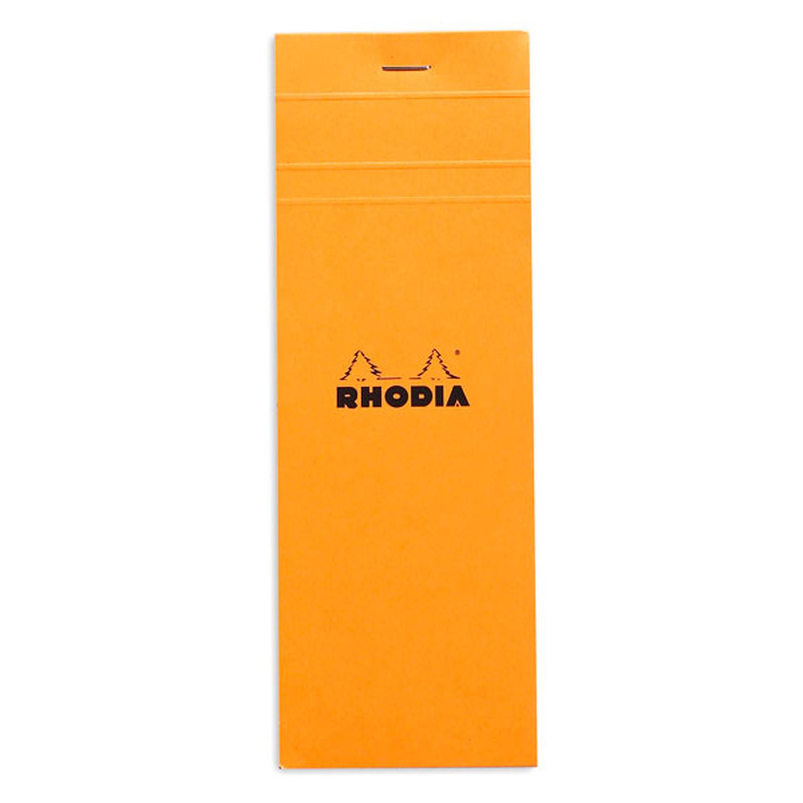 Rhodia Bloc N°8 Orange agrafé en-tête 7.4 x 21 cm petits carreaux 5 x 5 mm 80 pages