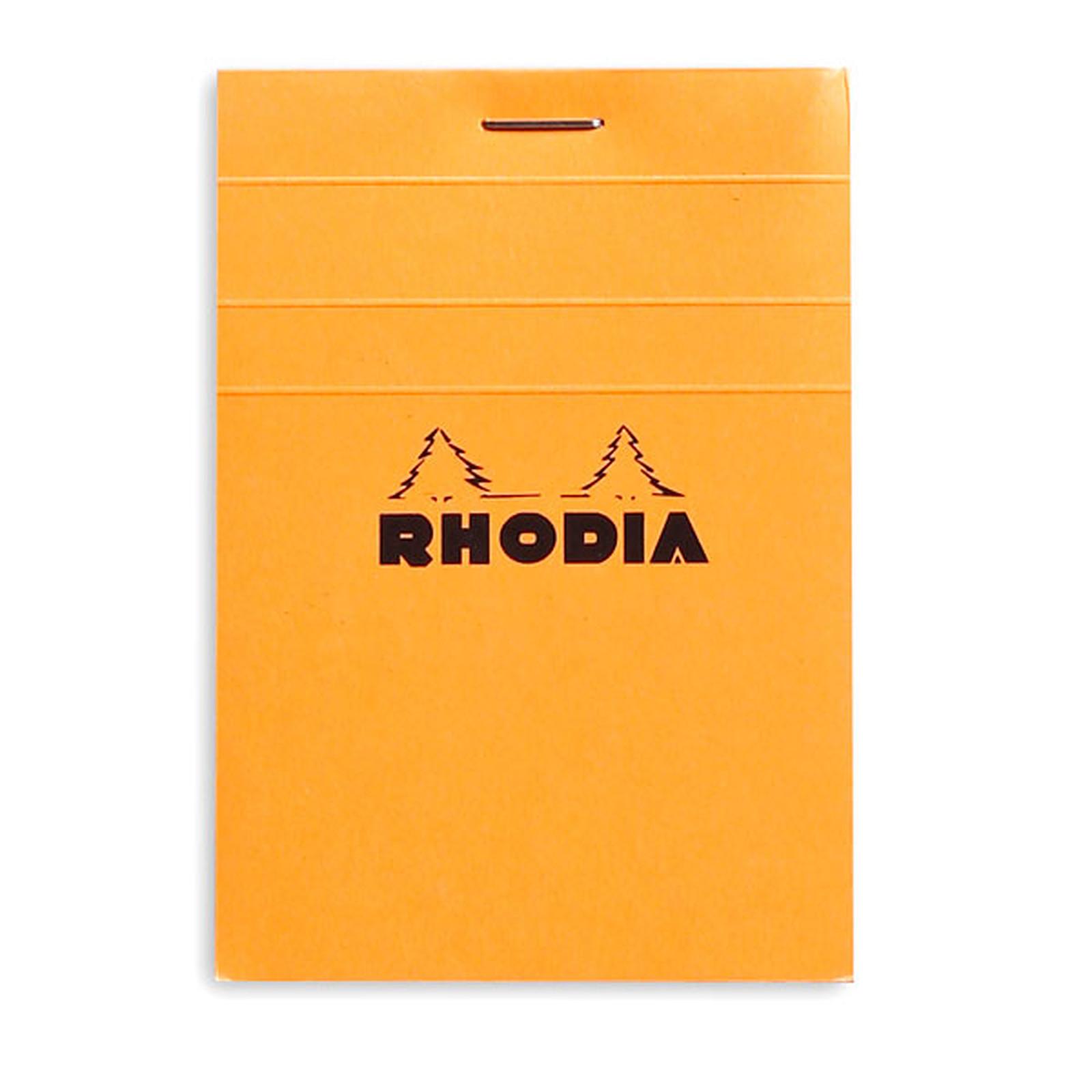 Rhodia Bloc N°11 Orange agrafé en-tête 7.4 x 10.5 cm petits carreaux 5 x 5 mm 80 pages