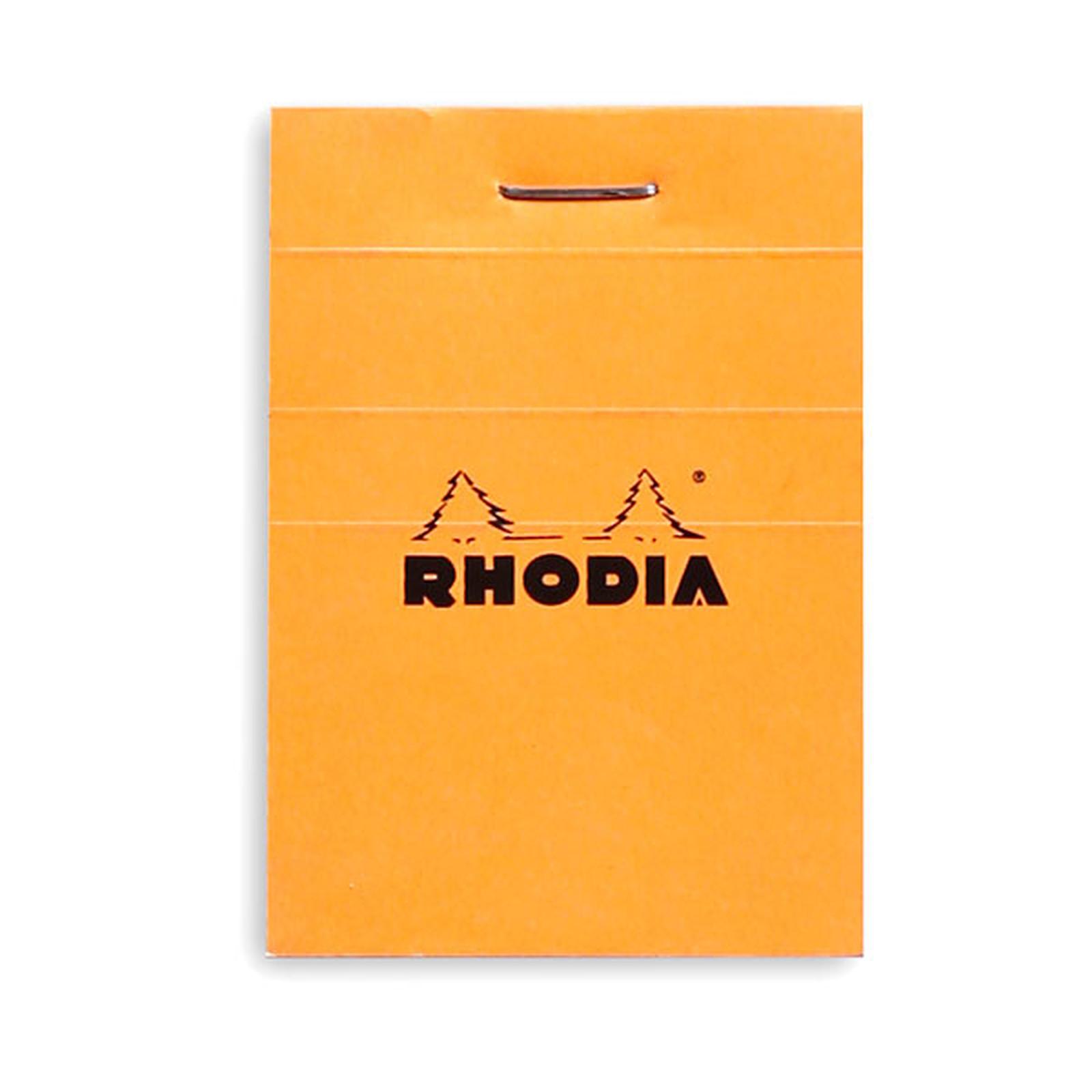 Rhodia Bloc N°10 Orange agrafé en-tête 5.2 x 7.5 cm petits carreaux 5 x 5 mm 80 pages