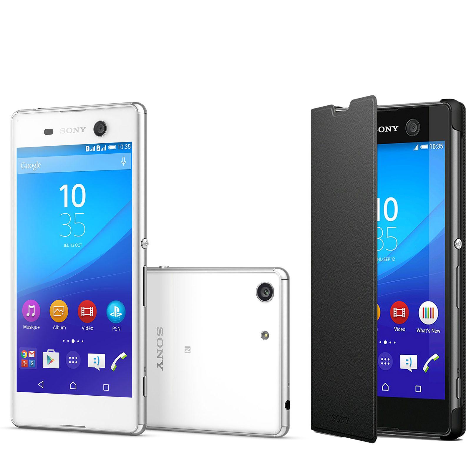 Sony Xperia M5 Dual SIM Blanc + Etui Folio Noir